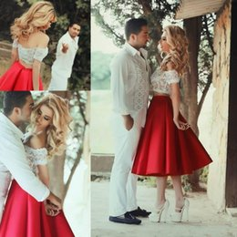 2015 Two Pieces Short Party Dresses Off Shoulder Lace Top A line Ruffles Satin Wedding Bridal Gowns Custom made