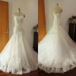 Real Image Wedding Dresses Strapless Mermaid Lace Up Back Lace Appliques Chapel Church Wedding Bridal Gowns Custom made