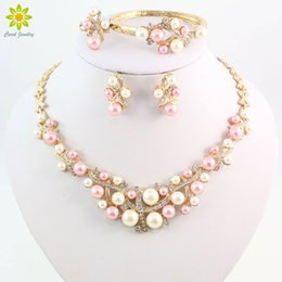 Gold Plated Colorful Pearl Classic Jewelry Set Alloy Vintage African Beads Jewelry Sets For Women Imitation Wedding Accessories