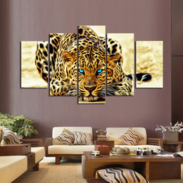 Unframed 5 Pcs Yellow Abstract Leopards HD Wall Picture Decorative Art Print Painting On Canvas For Living Room Home Decoration