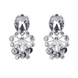 New Arrive Silver Big Earrings Fashion CZ Diamond Crystal Shining Wedding Jewelry Pageant Accessories Stud Earring Chic