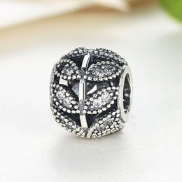 Sparkling Leaves Silver Charm with Clear Cubic Zirconia in Genuine 925 Sterling Silver for Pandora Style Bracelets S238