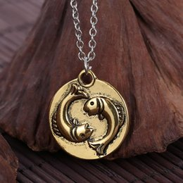 Wholesale Fashion Antique pendant necklace Ancient gold plated bronze plated Sided engraved Craving and Pisces Bathing necklace