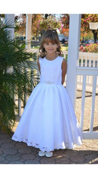 A-Line Flower Girl Dresses Gowns Beaded Sash Ankle Length Jewel Girls Dresses Special Occasion Lace Sleeveless Girl Party Dress
