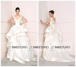Wholesale Gorgeous Court Train Satin Antonio Riva Wedding Dresses New Arrival A Line Tiered Skirt White Bridal Gowns Sexy V Neck Sleeveless