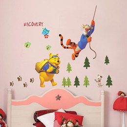 Wholesale Hot selling bear wall sticker wall decals with trees kids Winnie the POOH Bear Piglet Tigger Decor Kids wall stickers Nursery