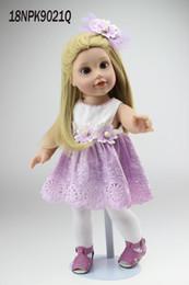 Wholesale China Dress Pattern - 18 inch Vinyl Princess Girl Dolls Cute Realistic Girl Birthday Gift Alexander Girl Doll in Flower Pattern Dress