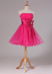 Elegant Short Strapless Ball Gown Prom Dress With Bow 2018 Beautiful Short Prom Gowns Fuchsia Color