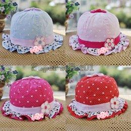 Wholesale Cute infant girls flower bold dot hearts cotton summer hats bernat month Hot