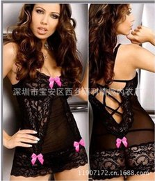 Wholesale w1023 Hot sexy lingerie sexy Costumes set sexy Slips underwear intimates Strip care back cross lace Beautiful bow tie erotic lingerie