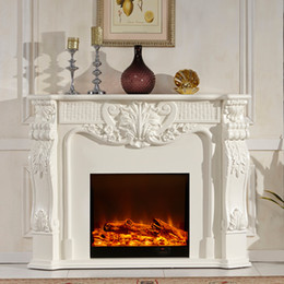 Wholesale New Listing wood fireplace with decorative stoves flame simulation Continental white antique fireplaces F1 YY