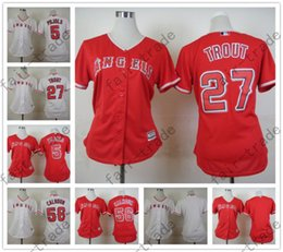 Wholesale Los Angeles Angels Women Jersey Mike Trout Albert Pujols Kole calhoun White Red