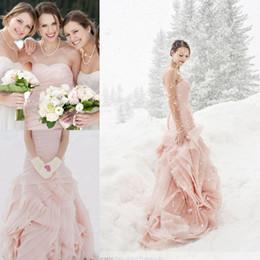 Wholesale Blush Pink Wedding Dresses Winter Bridal Gowns Elegant Mermaid Strapless Zipper Flange Custom Made Organza Ruffles Trumpet Bridal Gowns