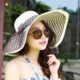 Wholesale-2015 Wholesale Women's Sun Hat Striped Big Brim Round Top Straw Hats for Women Ultraviolet-proof Hat Free Shipping JS022
