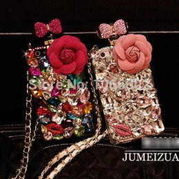 Wholesale-Luxury Bow Crystal Flower Bling Perfume Bottle TPu Chain Case for iPhone 5s 5 4s 4 6 6 Plus  NOte 4 3 2 S6 S5 S4 S6 Edge