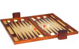Wholesale 19 inch big wooden toy baccarat games folding portable zebra wood backgammon box with chip dice