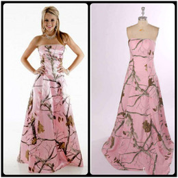 2020 Pink Camo Bridesmaid Dresses Cheap Strapless Custmized Bridesmaid Dresses Long Zipper Back Formal Gowns Wedding Party Dresses