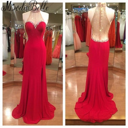 Robe de Soiree Red Prom Dresses High Neck beaded Sweep Train Long Custom Made high neck Sheath Formal Evening Gowns