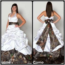 V Neck Halter Satin Camo Wedding Dresses 2020 Backless A Line Wedding Dresses Beach Bridal Gowns Plus Size