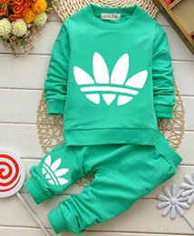 Wholesale 2015 New Cotton Long Sleeves Spring Baby Sets Round Neckline Zipper Printing Outwear Pants pc Boys Girls Tracksuits Hot