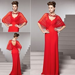 Wholesale Red Car Sleeves Prom Long Party Gowns Long Sleeves Beads Sweetheart Mother Of Bridal Dresses Celebrity Gowns Red Carpet Dress ZYY