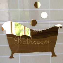 Wholesale 1 Bathroom Entrance Sign Acrylic Mirror Surface Door Wall Sticker Shop Office Home Cafe Hotel Decoration