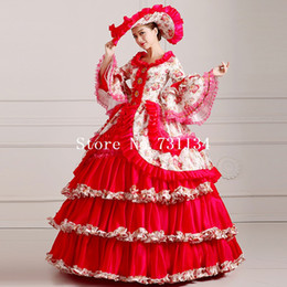 High-grade Red Floral Multi-layer Civil War Southern Belle Gown Renaissance Rococo Marie Antoinette Dress Women Party Dress