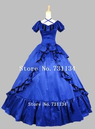 Hot Sale Blue Satin Long Civil War Southern Belle Victorian Dress Elegant Bow Lolita Victorian Ball Gown