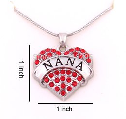 1 inch*1 inch latest style Free shipping 30pcs a lot rhodium plated big hearts NANA with red crystals heart chain necklace