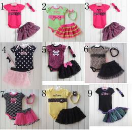 Wholesale 15 Styles Baby Kids Clothes Romper Tutu Skirt Headband Set Fashion Leopard Dots Skull Lace Tutu Outfits Children Romper C001
