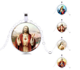 Wholesale Vintage Jesus Christian Religious Pendant Necklace Glass Cabochon Pendant Silver Plated Art Picture Chain Necklace Mysterious jewelryGift