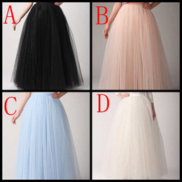 Cheap Women Skirts Any Color Floor Length 2019 Adult Long Tutu Pleated Tulle Skirt A Line Plus Size Maxi Underskirt China Custom Made
