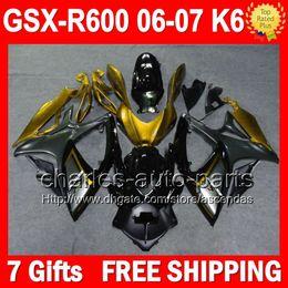 7gifts+Cowl For SUZUKI GSXR600 06 07 GSXR 600 GSX-R600 Gold black L36189 GSX R600 K6 06-07 Body GSXR-600 2006 2007 Fairing Golden black Kit