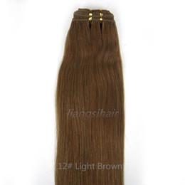 2017 marrón recta armadura brasileña del pelo Extensión de la trama del pelo humano de Remy de la Virgen del grado 7A brasileño indio malasio de la trama Extensión del pelo recto 100gx4 4pcs 16