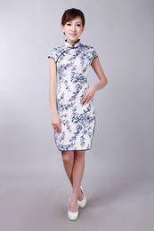 Elegant Print Chinese Cheongsam High Collar Capped Short Sleeves Chinese Dresses Mini Short Side Split Evening Dress