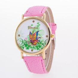 2018 new geneva butterfly flower print watch women ladies fashion dress quartz wrist Watch fast shipping