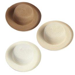 Chapeau souple rond en Ligne-Vente en gros Hot-Classic unisexe ronde Brim disquette Été paille chapeau de plage pour femmes Chapeaux