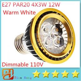 5pcs lot Dimmable 110V-130V E27 PAR20 4X3W 12W Warm white led lamp Spotlight Energy Saving three years Warranty