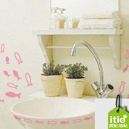 Wholesale sticker winnie Dream schools free sticker fish in kitchen and toilet shower bath cabinet removable wall sticker