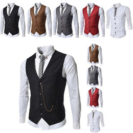 Wholesale Formal Men s Waistcoat New Arrival Fashion Groom Tuxedos Wear Bridegroom Vests Casual Slim Vest Custom Made With Chain