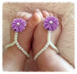 Wholesale Fashion Pearl Chiffon Flower Infant Baby First Walker Shoes Feet Ring For Photography Props Baby Girl Barefoot Sandals Toddler Shoes PR575