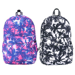 Wholesale 2015 Best Seller Preppy Style College Wind Graffiti Coconut Palm Backpack School Bag Blue and Black Fashion Bags