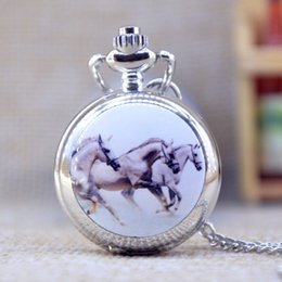 Wholesale New Fashion Silver Elegent Lovely horse with Mirror Case Quartz Pocket Watch Analog Pendant Necklace Mens Womens Gifts P359