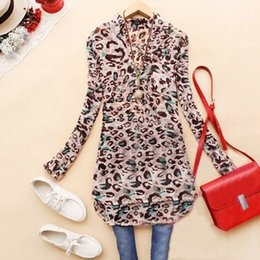 2015 Spring New Women Fashion Leopard Long Sleeve Stand Collar Chiffon Blouse Ladies Casual Shirt