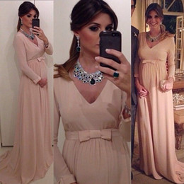 Chiffon Plus Size Prom Dress Sexy Pink V-Neck A-Line Evening Gown Long Sleeves Maternity Formal Party Evening Dress AL7508
