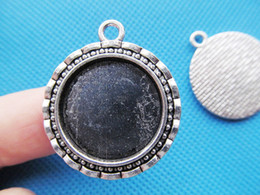 10pcs Antique Silver tone Flower Border Round Base Setting Tray Bezel Pendant Charm Finding,fit 20mm Cabochon Cameo