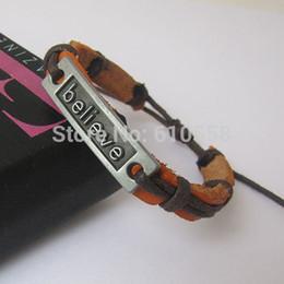 Free shipping hot selling leather Blck Gun Believe Bracelet retro bracelets believe charm man men jewelry woven HC0001