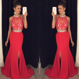 Red High Neck Mermaid Prom Dresses 2016 Applique Lace Chiffon Side Split Crystal Beaded Formal Evening Party Pageant Gonws