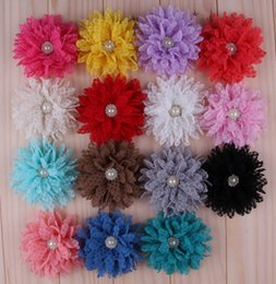 150pcs Fashion Multilayer Lace Mesh Flowers With Pearl Rhinestone Artificial Flatback Fabric Tulle Flowers Hair Accessories Headbands Flower