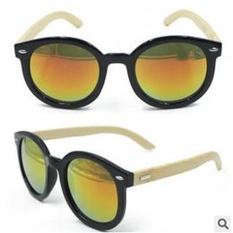 Wholesale Classics Retro Bamboo Wood Sunglasses Gorgeous Women Big Round Frame Wood Sunglasses